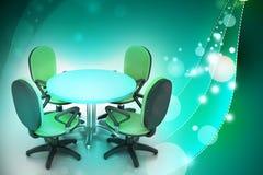 Καρέκλες διασκέψεων στρογγυλής τραπέζης και γραφείων διασκέψεων στην αίθουσα συνεδριάσεων Στοκ εικόνα με δικαίωμα ελεύθερης χρήσης