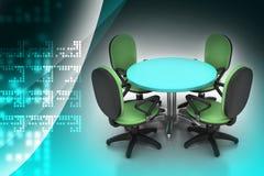 Καρέκλες διασκέψεων στρογγυλής τραπέζης και γραφείων διασκέψεων στην αίθουσα συνεδριάσεων Στοκ φωτογραφία με δικαίωμα ελεύθερης χρήσης