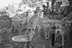 Καρέκλες χειμερινών μπαρ Γραπτή φωτογραφία του Πεκίνου, Κίνα Στοκ Εικόνες
