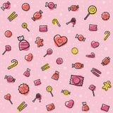 Καραμέλα και σχέδιο γλυκών με τις χρωματισμένες εμφάσεις διανυσματική απεικόνιση