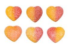 Καραμέλες ζελατίνας υπό μορφή καρδιών που απομονώνονται στο άσπρο υπόβαθρο στοκ εικόνες με δικαίωμα ελεύθερης χρήσης