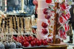 Καραμέλα μήλων πώλησης Στοκ φωτογραφίες με δικαίωμα ελεύθερης χρήσης