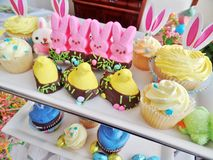 Καραμέλα Πάσχας και cupcakes στοκ φωτογραφία με δικαίωμα ελεύθερης χρήσης