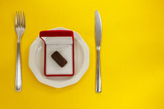 Καραμέλα σοκολάτας σε ένα κιβώτιο δώρων Στοκ Εικόνες