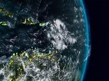 Καραϊβικές Θάλασσες από το διάστημα τη νύχτα απεικόνιση αποθεμάτων