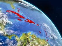 Καραϊβικές Θάλασσες από το διάστημα διανυσματική απεικόνιση