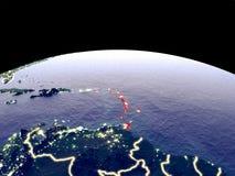 Καραϊβικές Θάλασσες στη γη από το διάστημα ελεύθερη απεικόνιση δικαιώματος