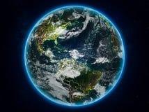 Καραϊβικές Θάλασσες στη γη τη νύχτα απεικόνιση αποθεμάτων