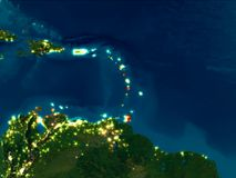 Καραϊβικές Θάλασσες στο κόκκινο τη νύχτα απεικόνιση αποθεμάτων