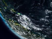 Καραϊβικές Θάλασσες τη νύχτα από το διάστημα διανυσματική απεικόνιση