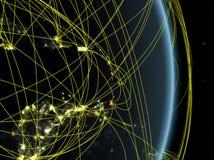 Καραϊβικές Θάλασσες τη νύχτα στο πλανήτη Γη πλανητών με το δίκτυο Έννοια της συνδετικότητας, του ταξιδιού και της επικοινωνίας τρ ελεύθερη απεικόνιση δικαιώματος