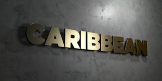 Καραϊβικός - το χρυσό σημάδι τοποθέτησε στο στιλπνό μαρμάρινο τοίχο - τρισδιάστατο δικαίωμα ελεύθερη απεικόνιση αποθεμάτων ελεύθερη απεικόνιση δικαιώματος