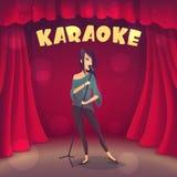 Καραόκε τραγουδιού κοριτσιών Brunette στη σκηνή Ύφος κινούμενων σχεδίων Στοκ εικόνες με δικαίωμα ελεύθερης χρήσης