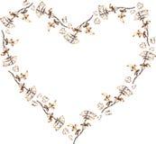 Καρδιά από τα τριαντάφυλλα και τα πέταλα με τα χρυσά περιγράμματα στο άσπρο υπόβαθρο διάνυσμα διανυσματική απεικόνιση