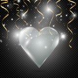 Καρδιά γυαλιού σε ένα διαφανές υπόβαθρο, απεικόνιση Επίκεντρο που φωτίζει την καρδιά διανυσματική απεικόνιση