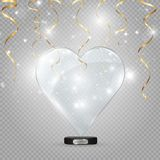 Καρδιά γυαλιού σε ένα διαφανές υπόβαθρο, απεικόνιση Επίκεντρο που φωτίζει την καρδιά ελεύθερη απεικόνιση δικαιώματος