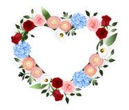 Καρδιά διακοσμήσεων λουλουδιών ελεύθερη απεικόνιση δικαιώματος