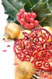 καρδιά διακοσμήσεων Χρι&sig Στοκ Φωτογραφία