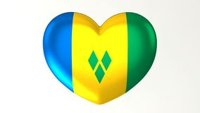 Καρδιά-διαμορφωμένη τρισδιάστατη απεικόνιση Ι αγάπη Άγιος Vincent και το Γ σημαιών διανυσματική απεικόνιση