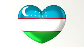 Καρδιά-διαμορφωμένη τρισδιάστατη απεικόνιση Ι αγάπη Ουζμπεκιστάν σημαιών ελεύθερη απεικόνιση δικαιώματος