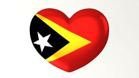 Καρδιά-διαμορφωμένη τρισδιάστατη απεικόνιση Ι αγάπη Τιμόρ Leste σημαιών διανυσματική απεικόνιση