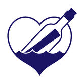 Καρδιά-διαμορφωμένο μήνυμα σε ένα εικονίδιο μπουκαλιών διανυσματική απεικόνιση