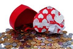 καρδιά δώρων κιβωτίων που &del Στοκ Φωτογραφίες