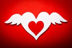 Καρδιά ημέρας βαλεντίνων με τα φτερά αγγέλου Στοκ εικόνα με δικαίωμα ελεύθερης χρήσης