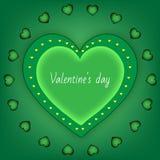 Καρδιά ημέρας βαλεντίνων ` s πράσινη σε ένα πράσινο υπόβαθρο Στοκ Εικόνες