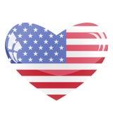 καρδιά ΗΠΑ γυαλιού Στοκ Εικόνες