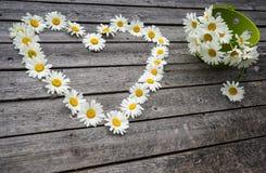 Καρδιά και ανθοδέσμη των chamomile λουλουδιών Στοκ Φωτογραφίες