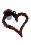 καρδιά καφέ φασολιών Στοκ Φωτογραφίες