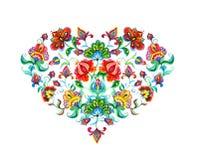 Καρδιά με τα ανατολικο-ευρωπαϊκά διακοσμητικά εθνικά λουλούδια Λαϊκή τέχνη Watercolor απεικόνιση αποθεμάτων
