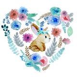 Καρδιά με τα λουλούδια και το κουνέλι ελεύθερη απεικόνιση δικαιώματος