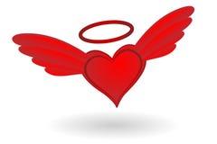 Καρδιά με τα φτερά και το φωτοστέφανο Στοκ Εικόνες