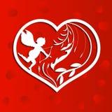 Καρδιά με τη διακόσμηση και ένα Cupid στο κόκκινο διανυσματική απεικόνιση