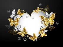 Καρδιά με τις χρυσές πεταλούδες στο γκρίζο υπόβαθρο απεικόνιση αποθεμάτων