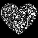 Καρδιά με το εικονίδιο συμβόλων μουσικής απεικόνιση αποθεμάτων