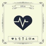 Καρδιά με το κύμα ECG - σύμβολο καρδιογραφημάτων μαύρη ιατρική προστασία συκωτιού εικονιδίων αλλαγής απλά άσπρη ελεύθερη απεικόνιση δικαιώματος