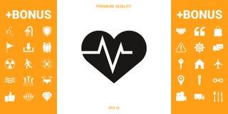Καρδιά με το κύμα ECG - σύμβολο καρδιογραφημάτων μαύρη ιατρική προστασία συκωτιού εικονιδίων αλλαγής απλά άσπρη απεικόνιση αποθεμάτων
