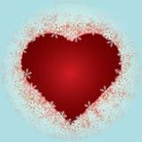Καρδιά με snowflakes Στοκ φωτογραφία με δικαίωμα ελεύθερης χρήσης