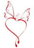 καρδιά πεταλούδων Στοκ Εικόνες