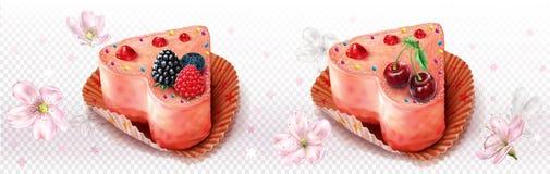 Καρδιά που διαμορφώνεται cupcake διακοσμημένος με τα μούρα ελεύθερη απεικόνιση δικαιώματος