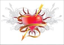 καρδιά που διαπερνιέται Στοκ Εικόνες