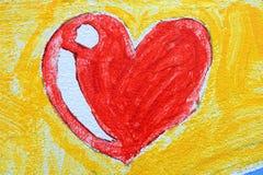 Καρδιά που επισύρει την προσοχή στο υπόβαθρο συμπαγών τοίχων Στοκ Εικόνα