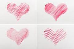 Καρδιά που επισύρεται την προσοχή κόκκινη σε χαρτί στοκ εικόνες με δικαίωμα ελεύθερης χρήσης