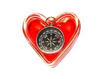καρδιά πυξίδων Στοκ Φωτογραφίες