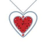 Καρδιά-ρολόι με τα διαμάντια και την αλυσίδα Στοκ εικόνες με δικαίωμα ελεύθερης χρήσης