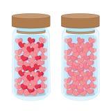 Καρδιά σε ένα μπουκάλι γυαλιού στο άσπρο υπόβαθρο ελεύθερη απεικόνιση δικαιώματος