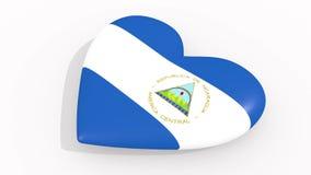 Καρδιά στα χρώματα και τα σύμβολα της Νικαράγουας, βρόχος διανυσματική απεικόνιση